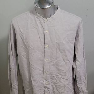 Uniqlo Linen Band Collar Shirt
